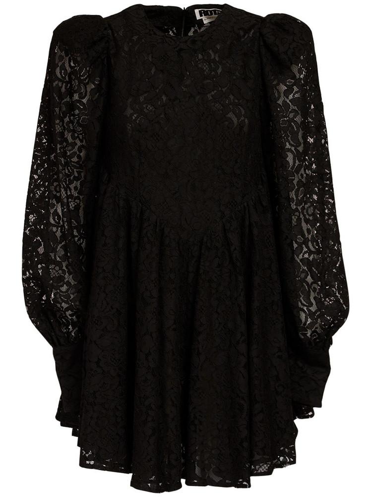 ROTATE Alison Cotton Blend Lace Mini Dress in black