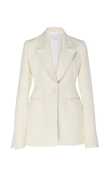 Marina Moscone Cotton-Blend Blazer Size: 2 in white