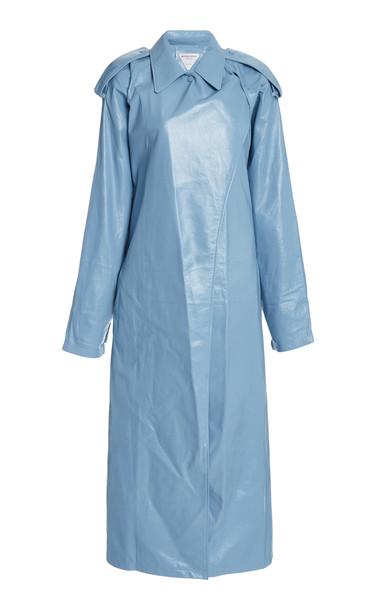 Bottega Veneta Leather Trench Coat in blue