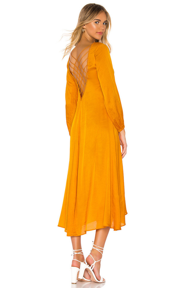 Free People Later Days Midi Dress in orange