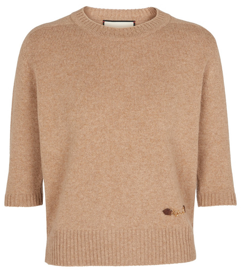 Gucci Embellished cashmere sweater in beige