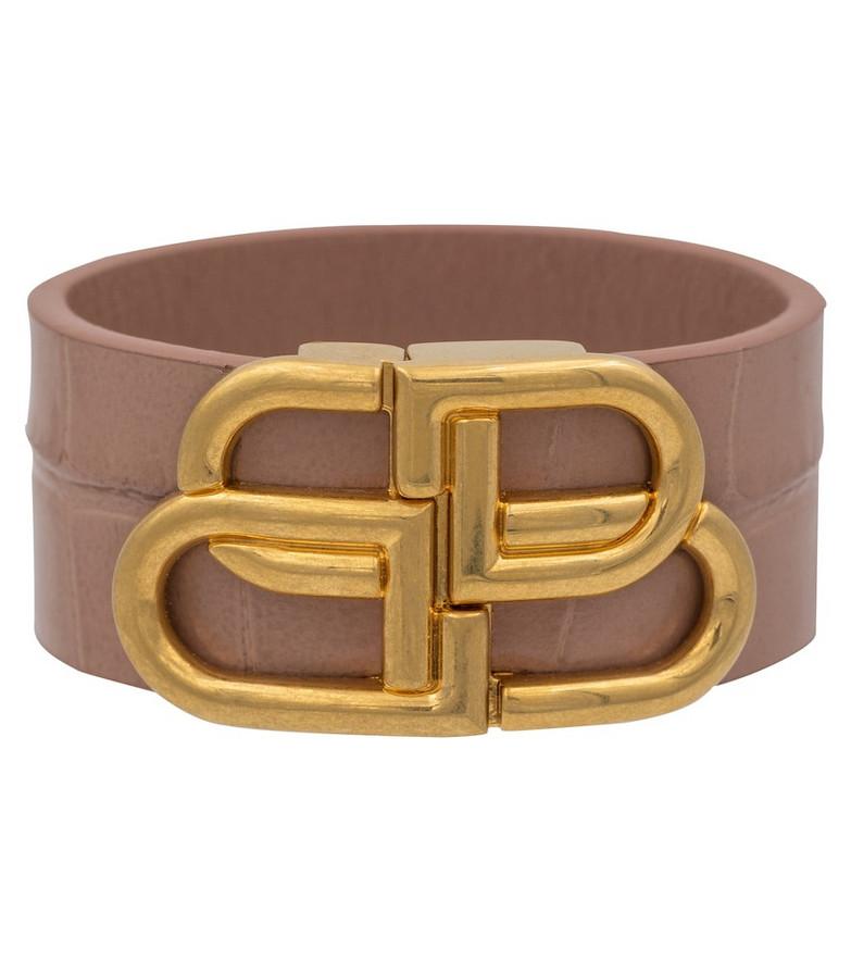 Balenciaga BB croc-effect leather bracelet in beige