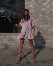 dress,mini dress,over the knee boots,crocodile,lilac