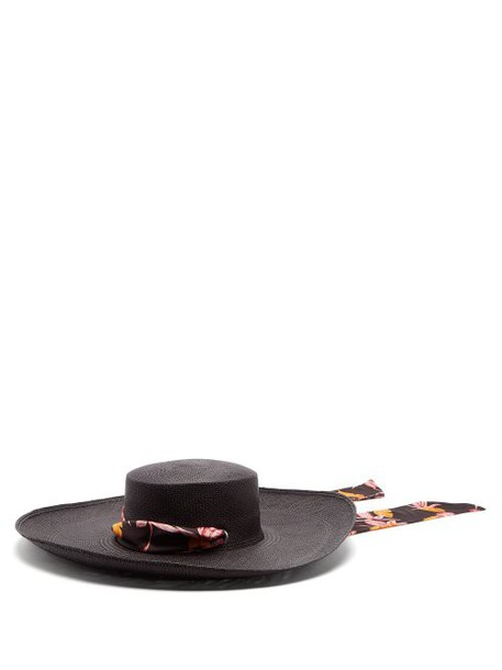 Sensi Studio - Cordovez Satin Tie Straw Hat - Womens - Black