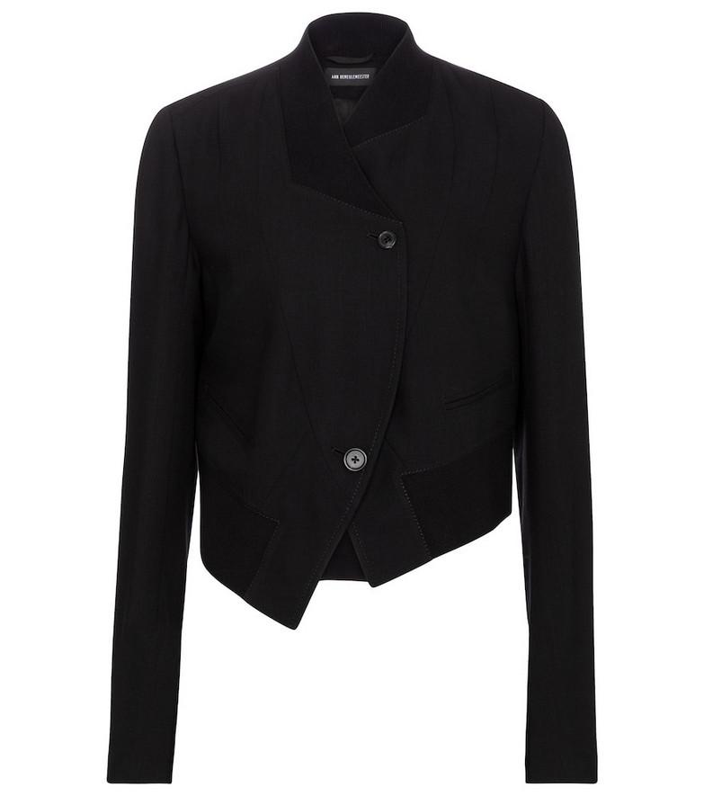 Ann Demeulemeester Asymmetric virgin wool jacket in black