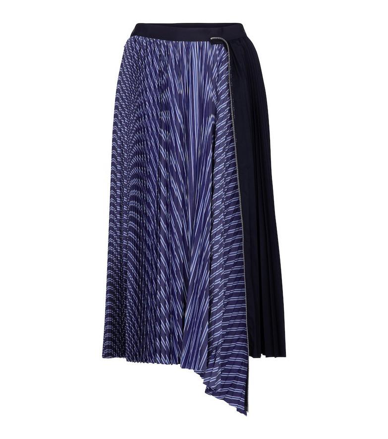 Sacai Striped cotton-poplin midi skirt in blue