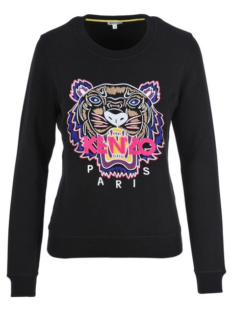 Kenzo Embroidered Tiger Sweatshirt in black / fuchsia