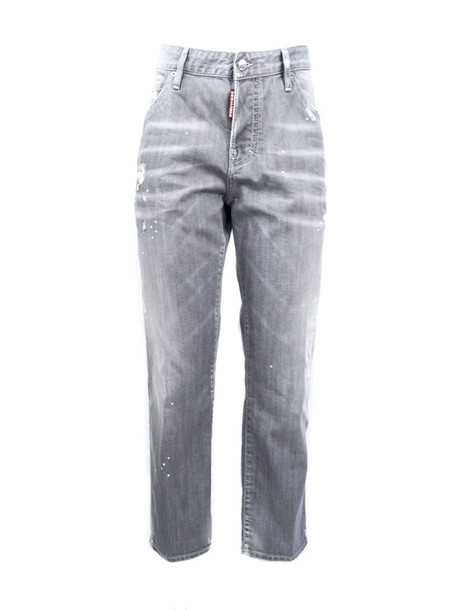 Dsquared2 Grey Cotton Cropped Jeans