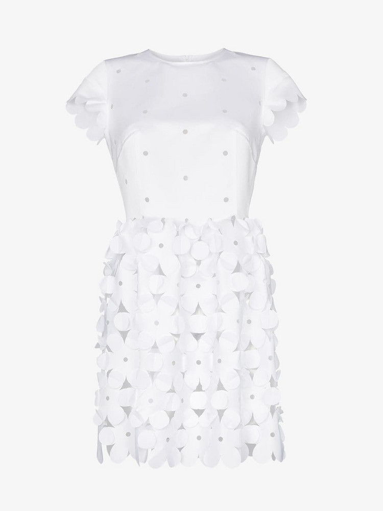 Paskal Lasercut floral mini dress in white