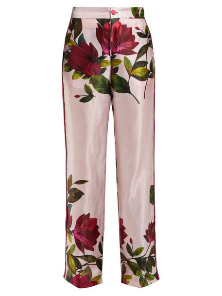 F.r.s - For Restless Sleepers - Carite Magnolia Print Satin Wide Leg Trousers - Womens - Pink Print