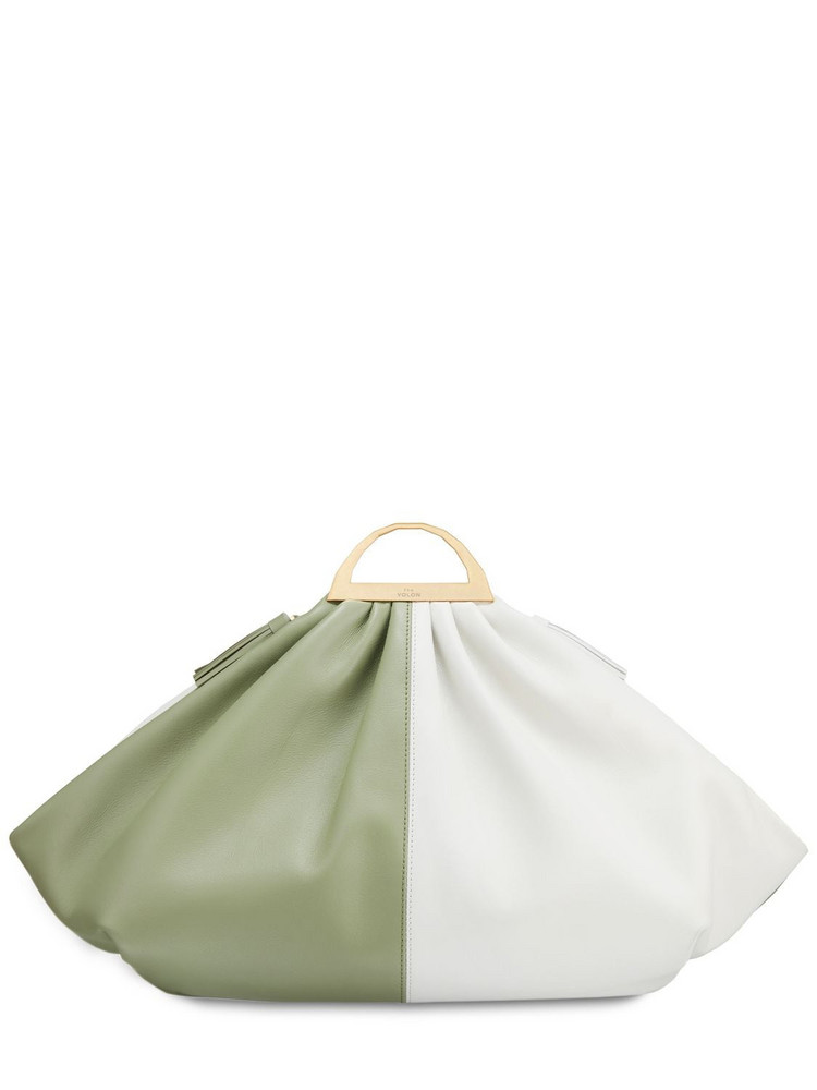 THE VOLON Gabi Leather Clutch in ivory