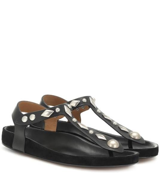 Isabel Marant Enavy embellished leather sandals in black