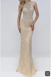 dress,beige prom dress