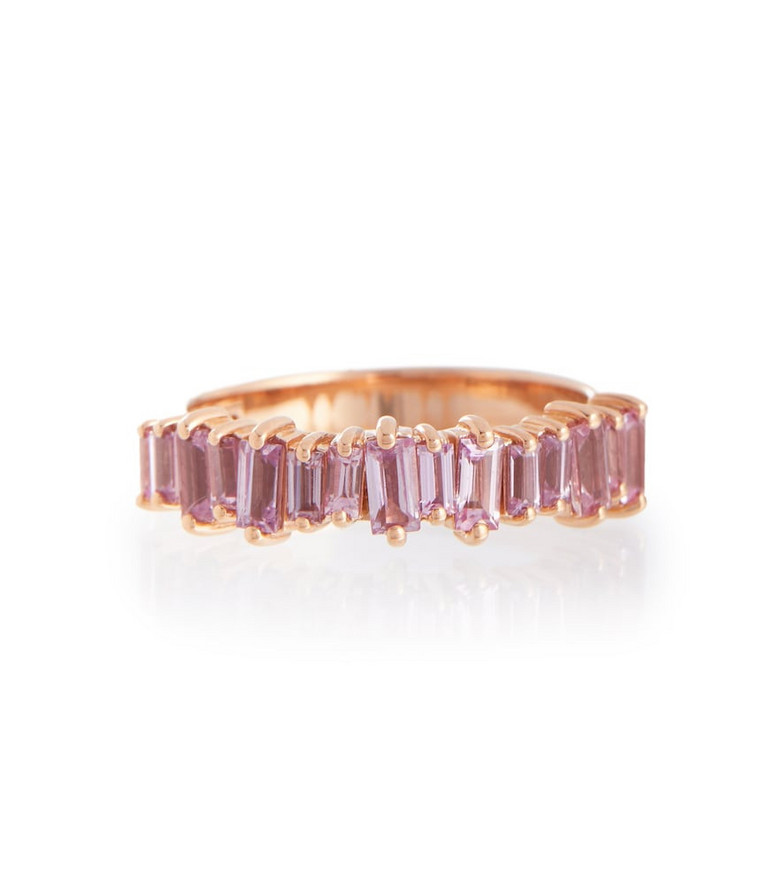 Suzanne Kalan 18kt rose gold ring with sapphires in pink