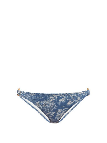 Belize - Camille Tropical Print Bikini Briefs - Womens - Blue Print