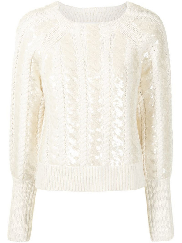 Veronica Beard sequin-embellished cable knit sweater in white