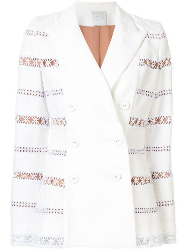 Ingie Paris embroidered double-breasted blazer in white