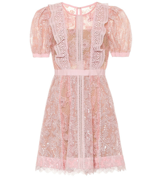 Self-Portrait Floral-lace minidress in pink