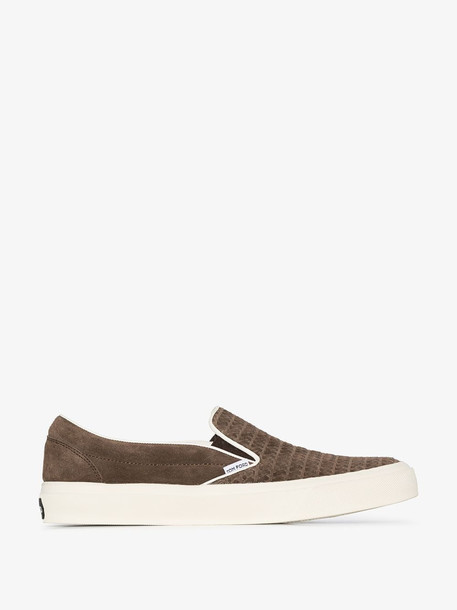 Tom Ford Brown Cambridge slip-on suede sneakers