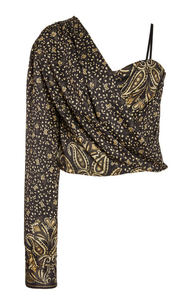 Jonathan Simkhai Sarai Paisley-Printed Top in black