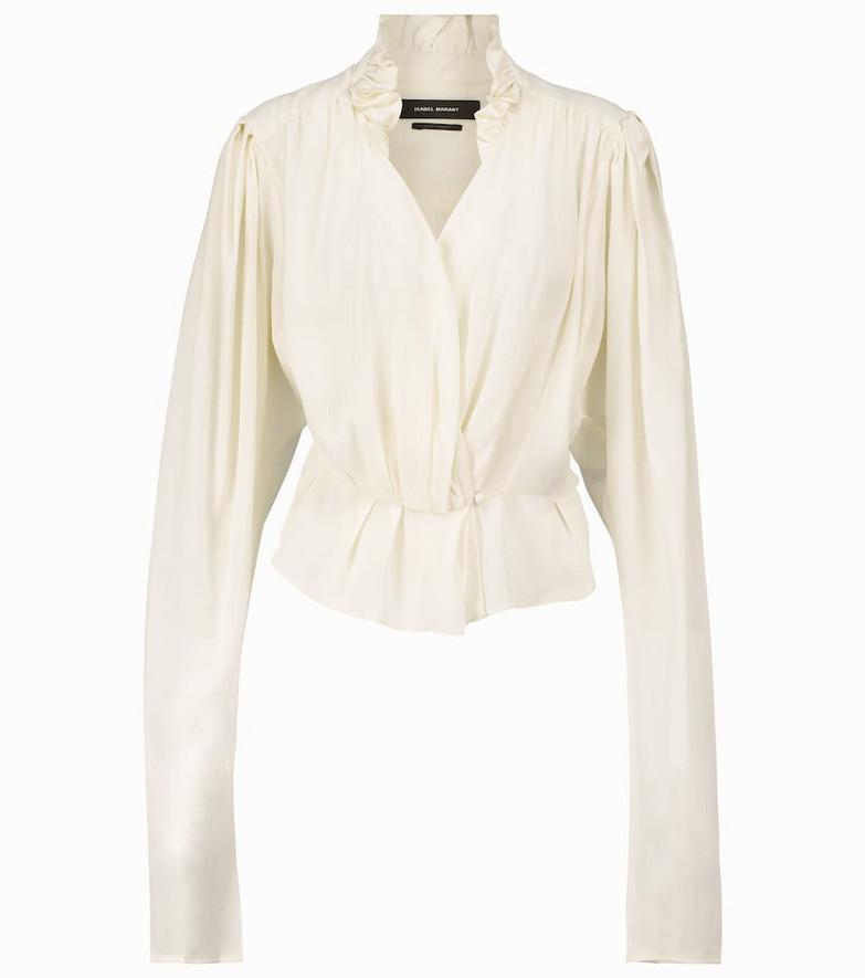 Isabel Marant Blineali V-neck silk blouse in white
