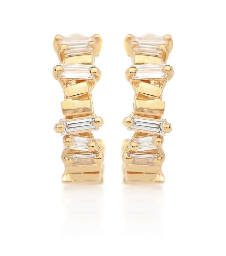 Suzanne Kalan 18kt gold diamond hoop earrings