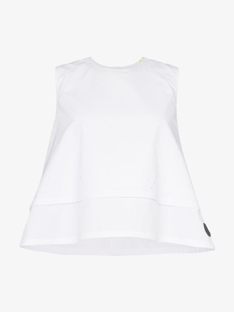 Moncler perforated sleeveless top in white
