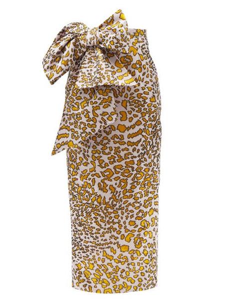 Halpern - Bow-embellished Leopard-jacquard Linen-blend Skirt - Womens - Black Gold