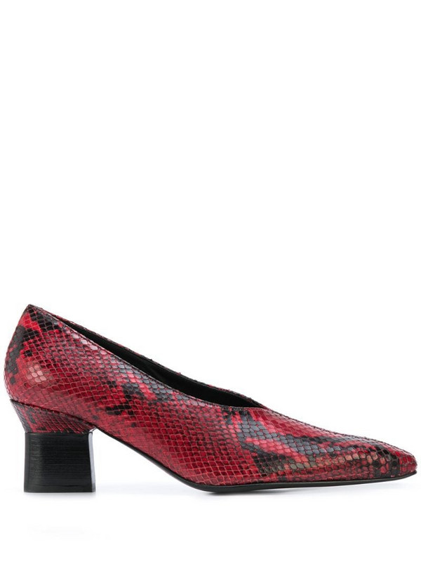 Rosetta Getty stamped python effect pumps in red