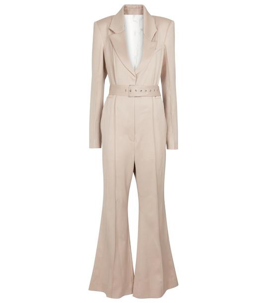 Peter Do Virgin wool tuxedo jumpsuit in beige