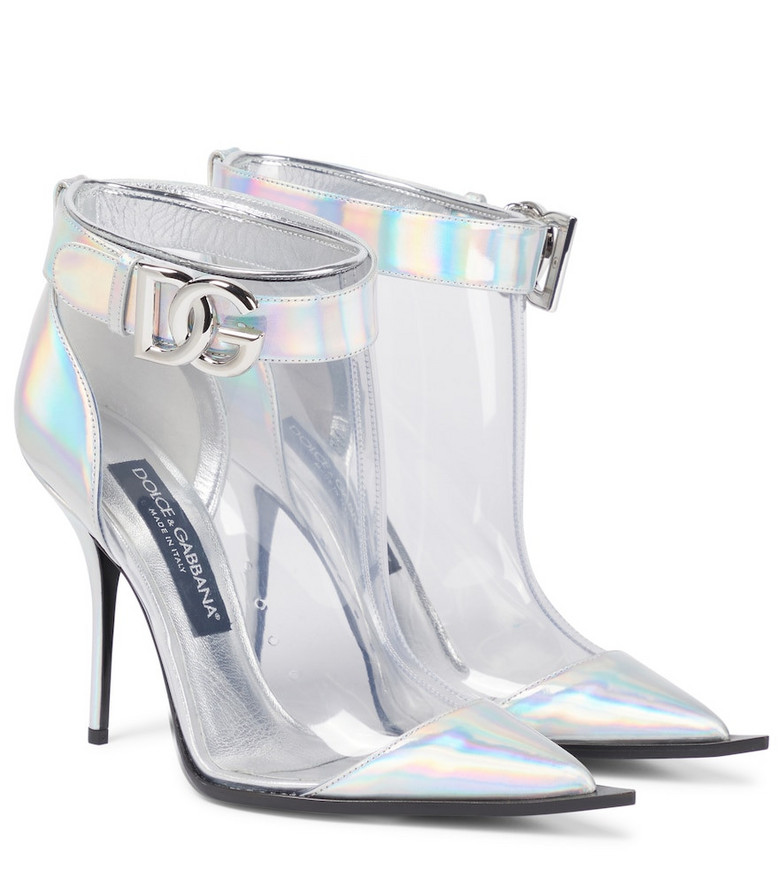 Dolce & Gabbana Leather-trimmed PVC ankle boots in silver