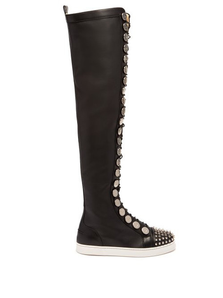 over the knee leather boots silver leather black shoes