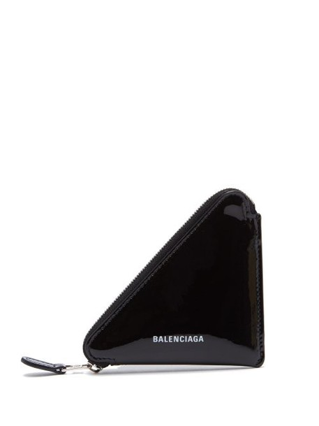 Balenciaga - Triangle Patent Leather Coin Purse - Womens - Black