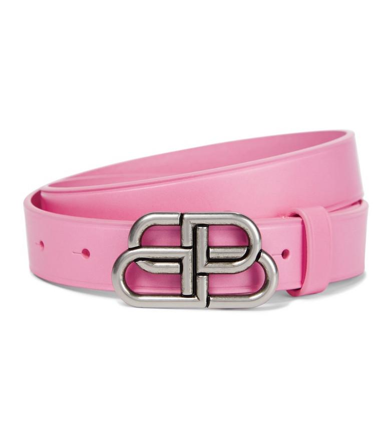 Balenciaga BB leather belt in pink