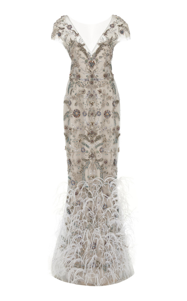 Marchesa Ostrich Feather Embroidered V-Neck Column Gown in grey