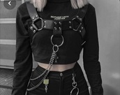 top,leather,chain,emo