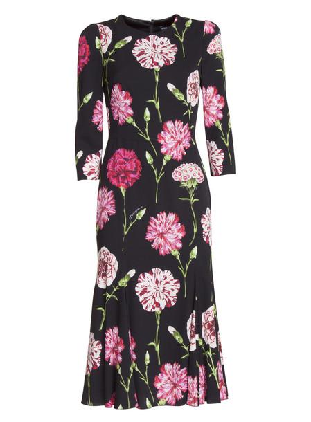 Dolce & Gabbana Carnation Print Mini Dress With Embroidery