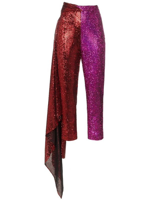 Halpern high-waisted slim fit trousers in red