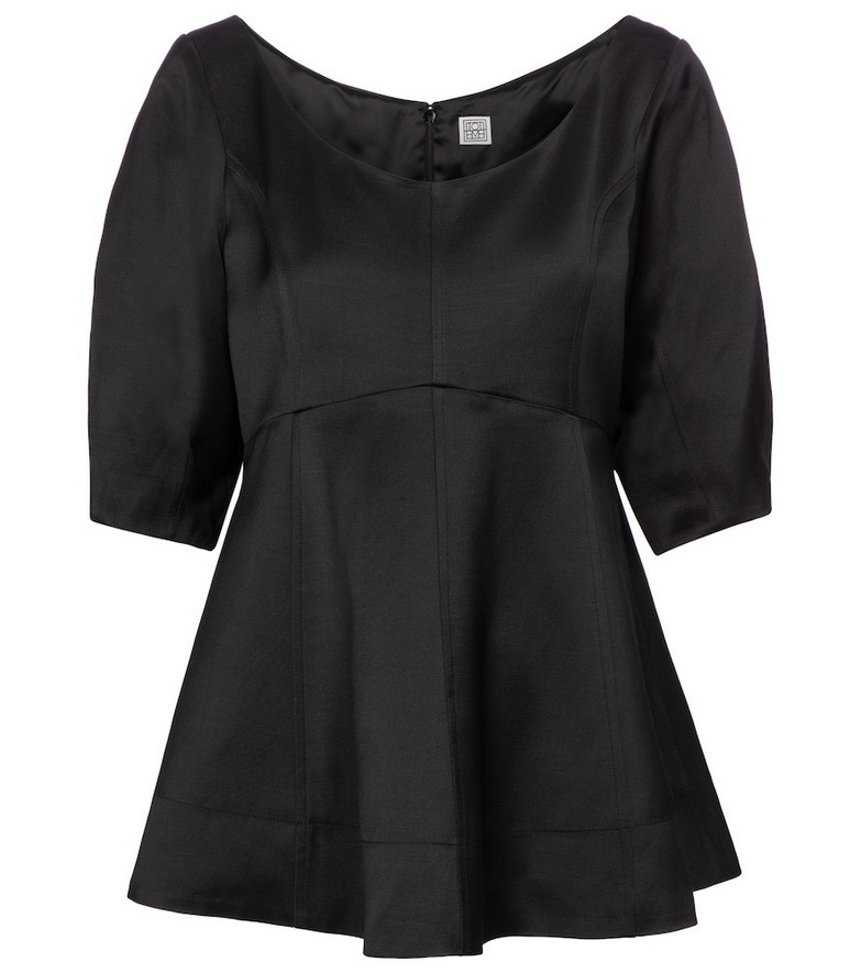 Toteme Peplum jersey top in black
