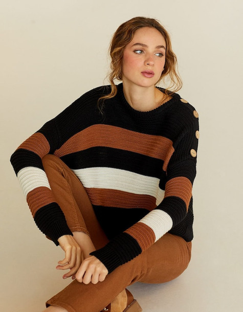 Stradivarius Sweater With Buttons In Brown