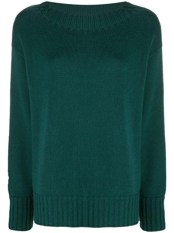 Drumohr boat-neck knitted jumper in green
