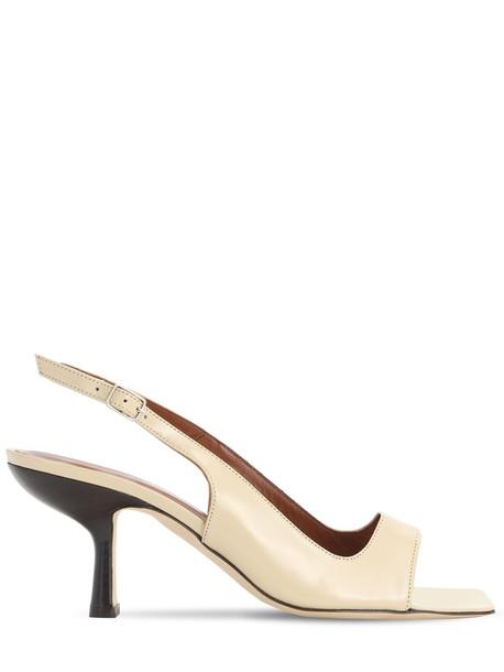 BY FAR 80mm Lopez Leather Slingback Sandals in beige