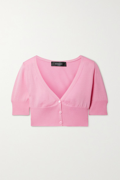 VERSACE - Cropped Wool Cardigan - Pink