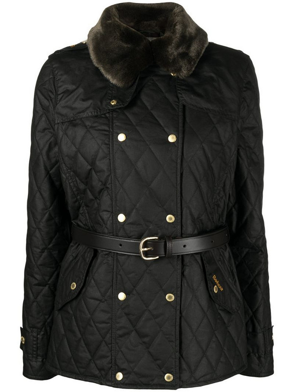 Barbour Elmis waxed quilted jacket in black