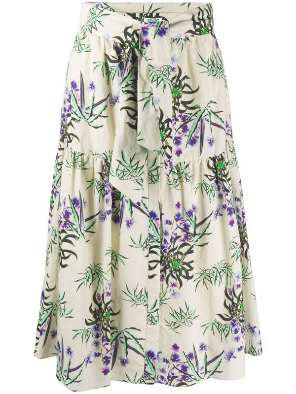 Kenzo Sea Lily print flared skirt in neutrals