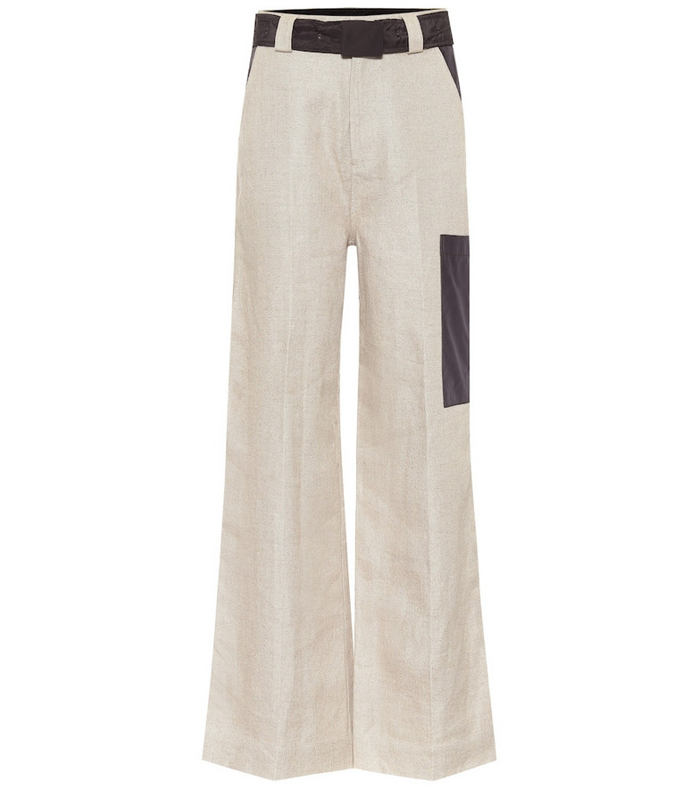 Ganni High-rise wide-leg linen pants in grey