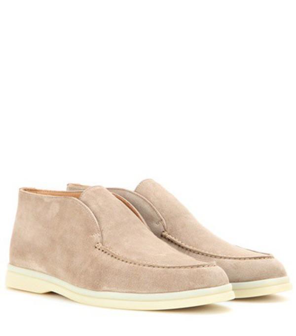 Loro Piana Open Walk suede ankle boots in beige