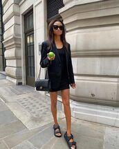 dress,black dress,mini dress,black sandals,flat sandals,black blazer,chanel bag