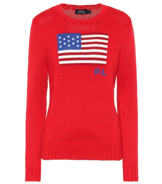 Polo Ralph Lauren Flag intarsia cotton sweater in red