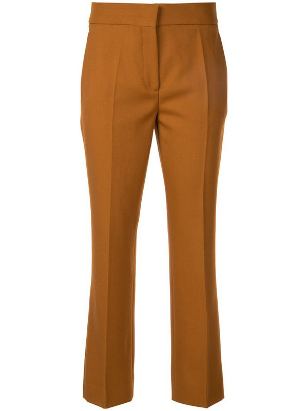 Cédric Charlier slim-fit cropped trousers in brown